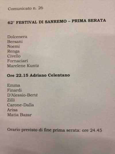 Scaletta prima serata Festival Sanremo 2012