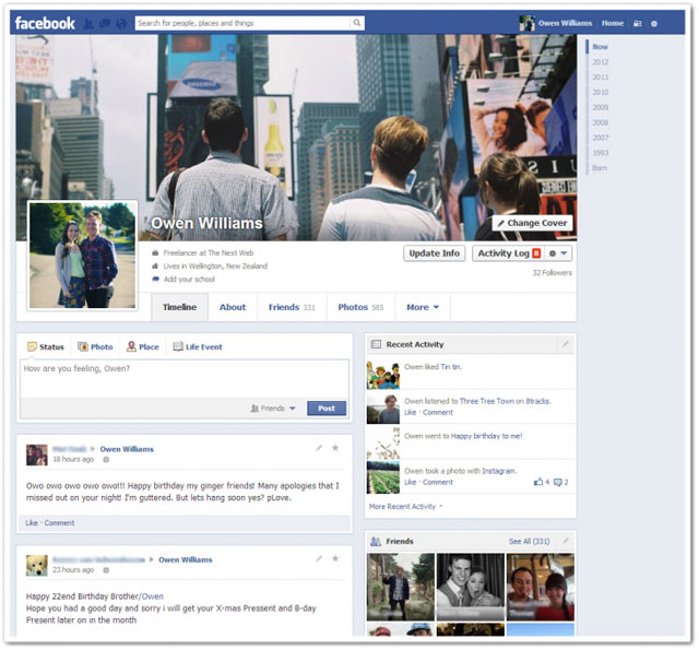 facebook 2013 timeline aggiornata
