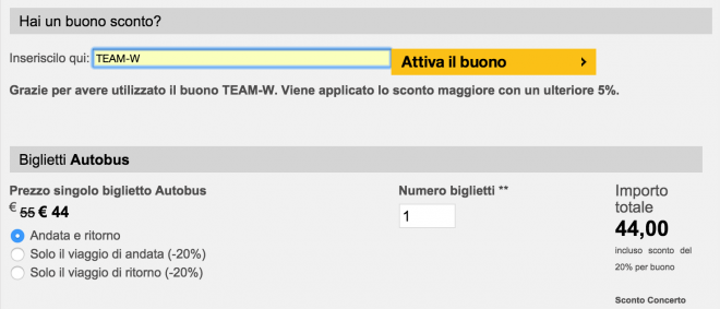 EVENTI IN BUS SCONTO ULTERIORE TEAM WORLD