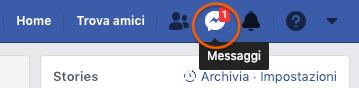 barra menu facebook con icona messenger in evidenza