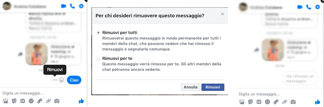 rimozione messaggi messenger