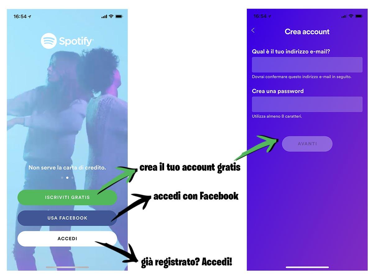 Crea un account su Spotify o accedi