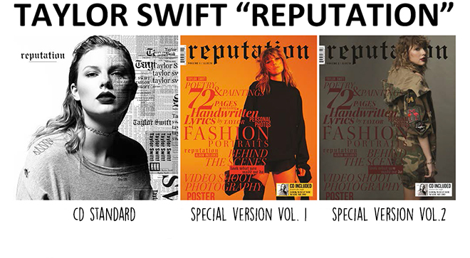Taylor Swift Reputation album versioni