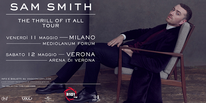 Sam Smith concerti Milano Verona 2018