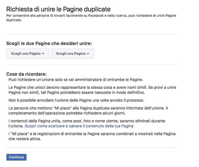 schermata della pagina di unione pagine facebook