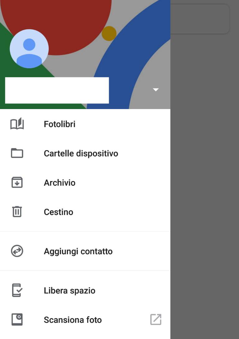 schermata per accedere al cestino su google foto