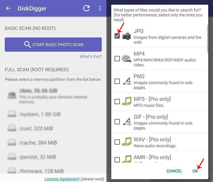 schermata diskdigger per recuperare foto su android