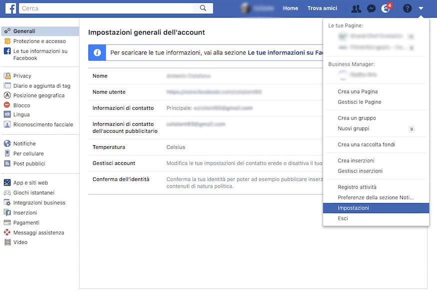 schermata menu impostazione su facebook
