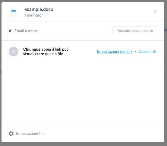 creare link di condivisione su dropbox