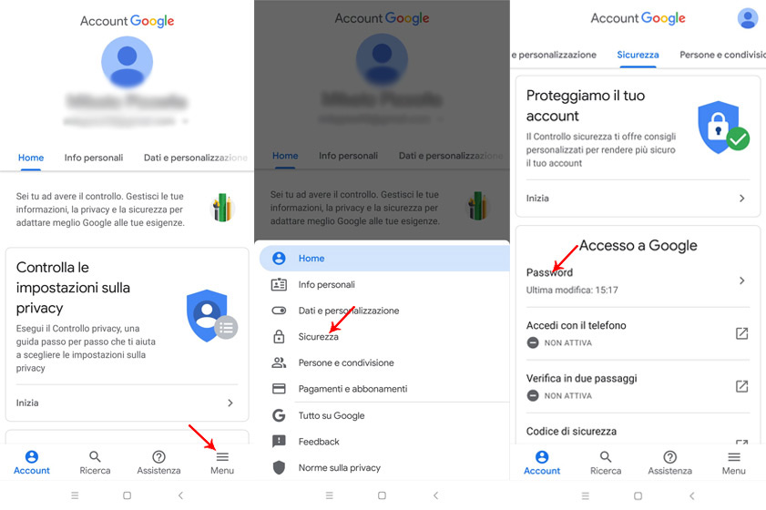 schermata modifica password gmail da mobile