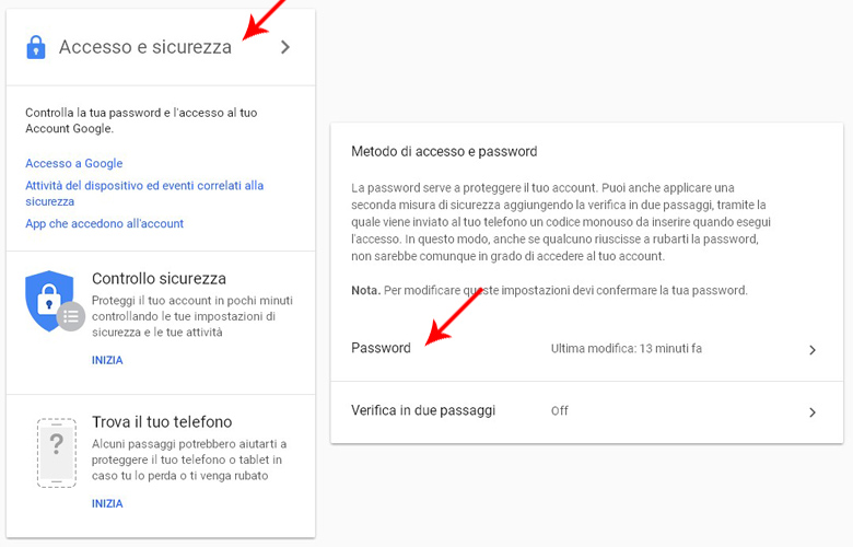 schermata di modifica password