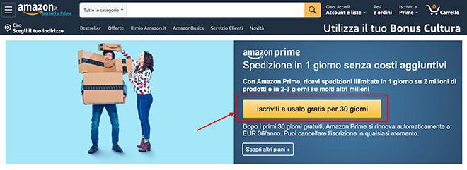 Amazon Prime iscrizione gratis