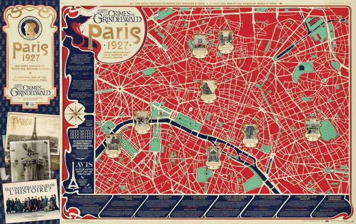 Mappa di Parigi dedicata ai luoghi in cui avvengono le scene principali di Animali Fantastici: I Crimini di Grindelwald