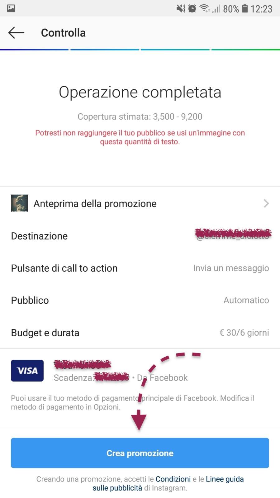 metodo pagamento storia sponsorizzata instagram