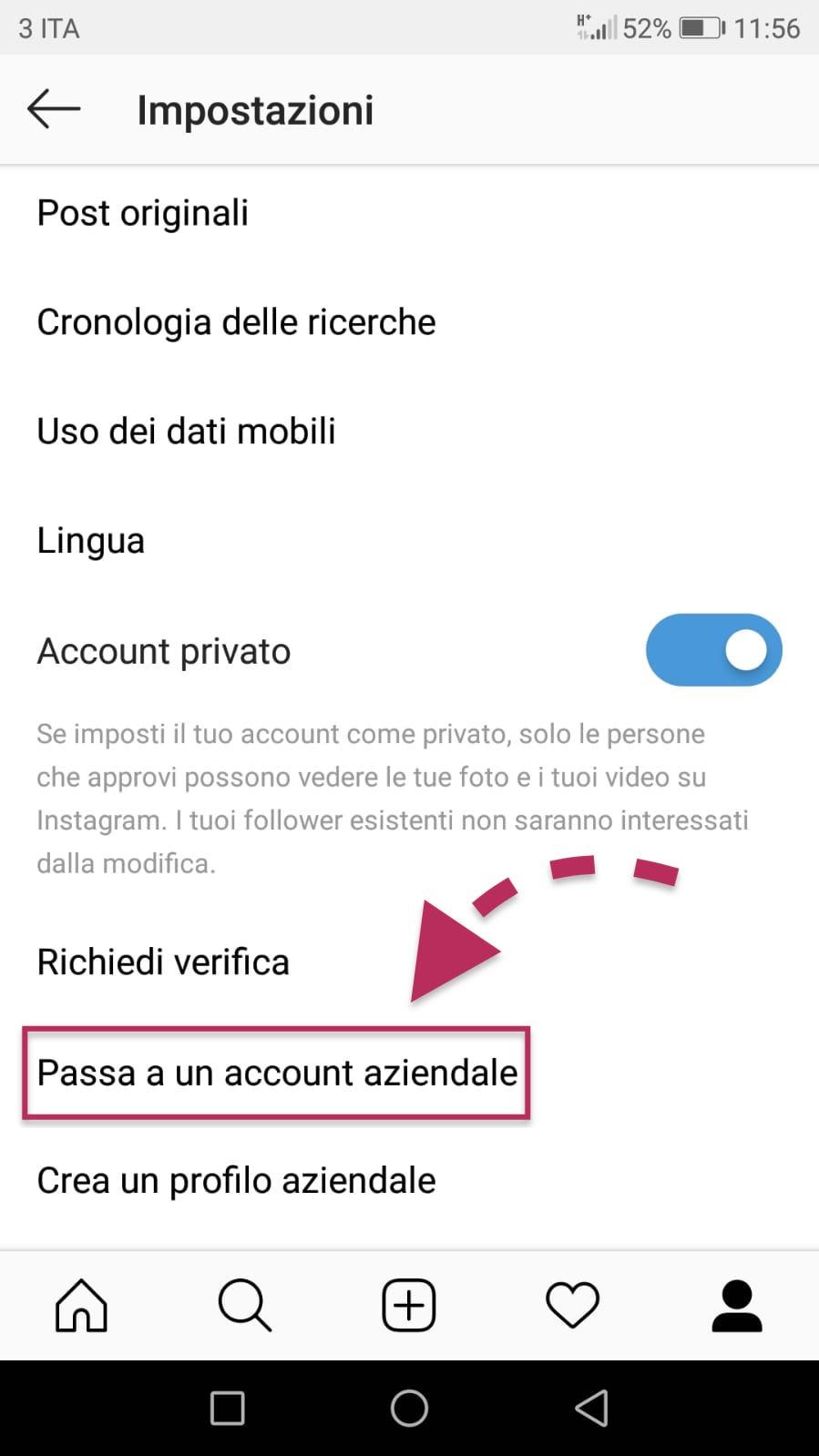 screenshot menu instagram profilo aziendale