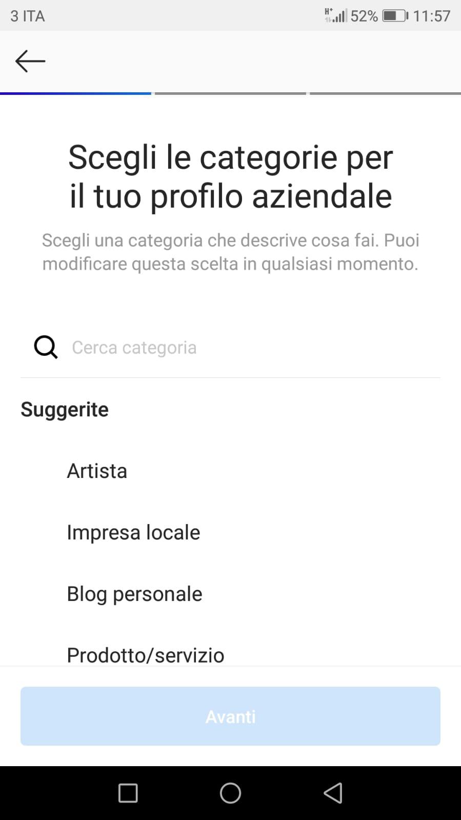 categoria profilo aziendale instagram