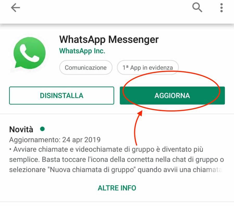 aggiornamento whatsapp su android