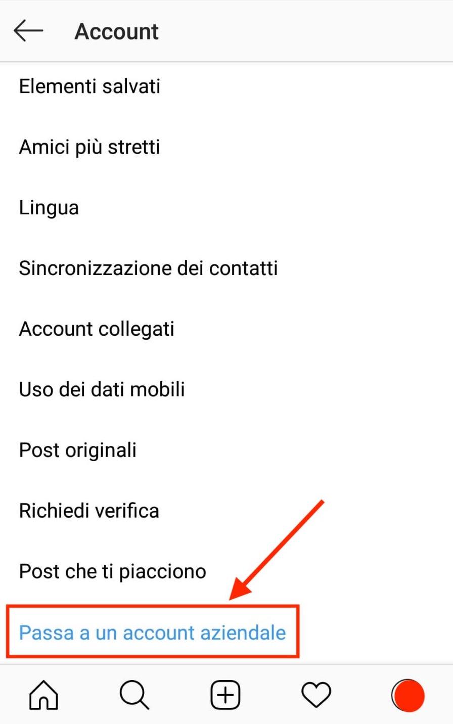 menu instagram passaggio account aziendale