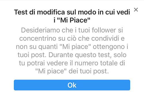 Test Mi piace Instagram