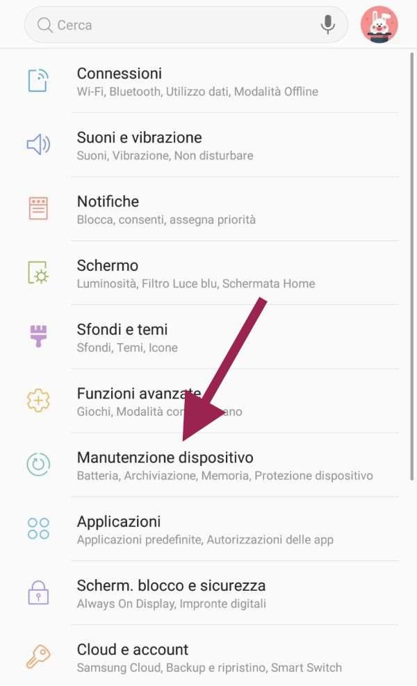 impostazioni android manutenzione