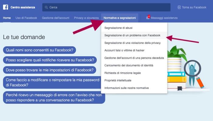sezione aiuto facebook