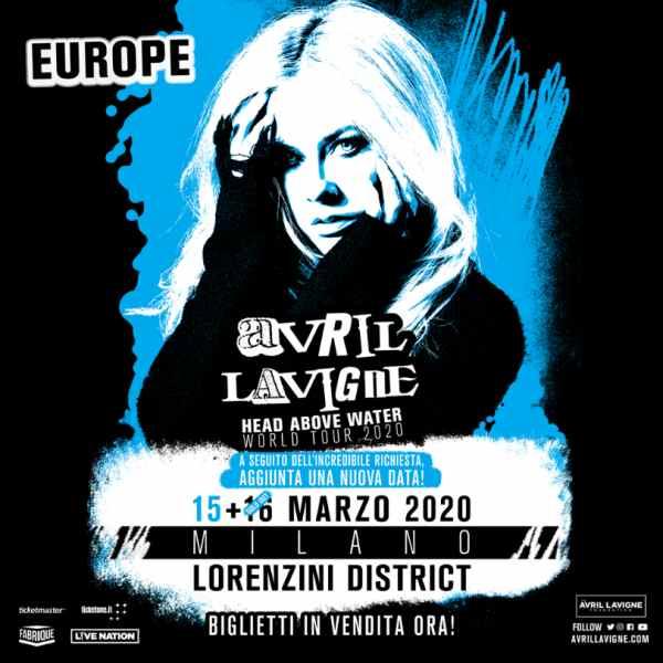 Avril Lavigne Milano 2020 concerti