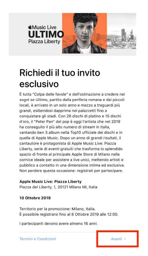 Ultimo Apple Music Live biglietti