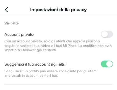 TikTok account privato