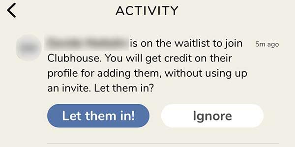 Clubhouse invitare nuovo utente