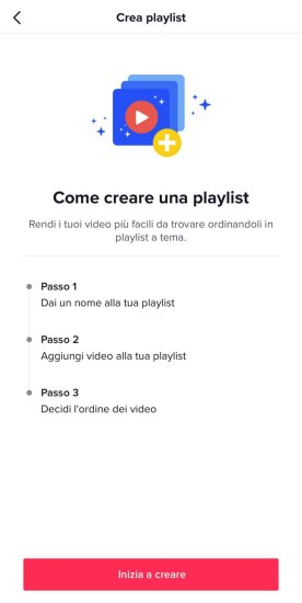 creare playlist tiktok